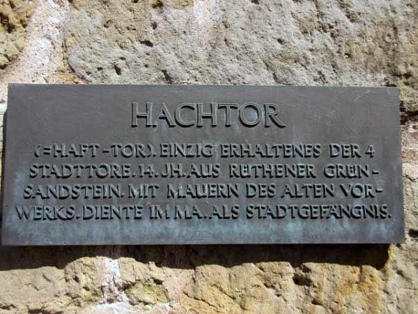 Inschrift Hachtor Rüthen