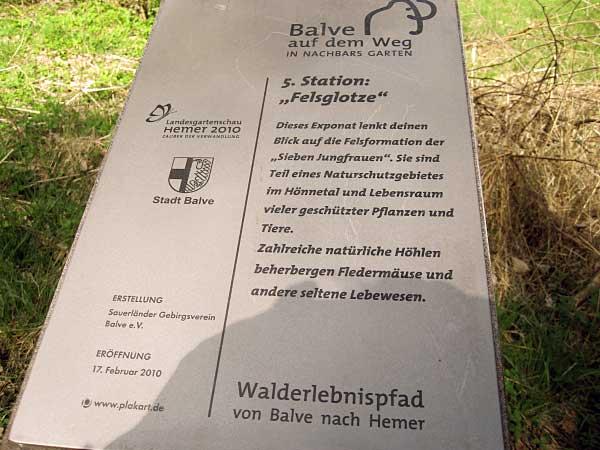 Walderlebnispfad Hemer - Balve, Hönnetal